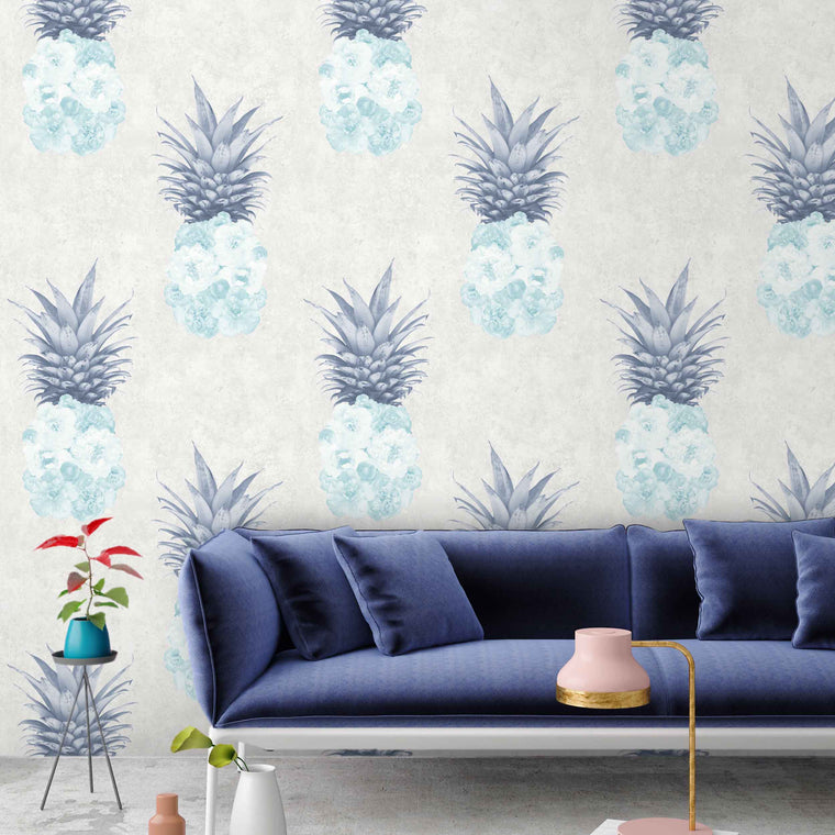 Ludic Duck Egg & Navy Pineapple Wallpaper