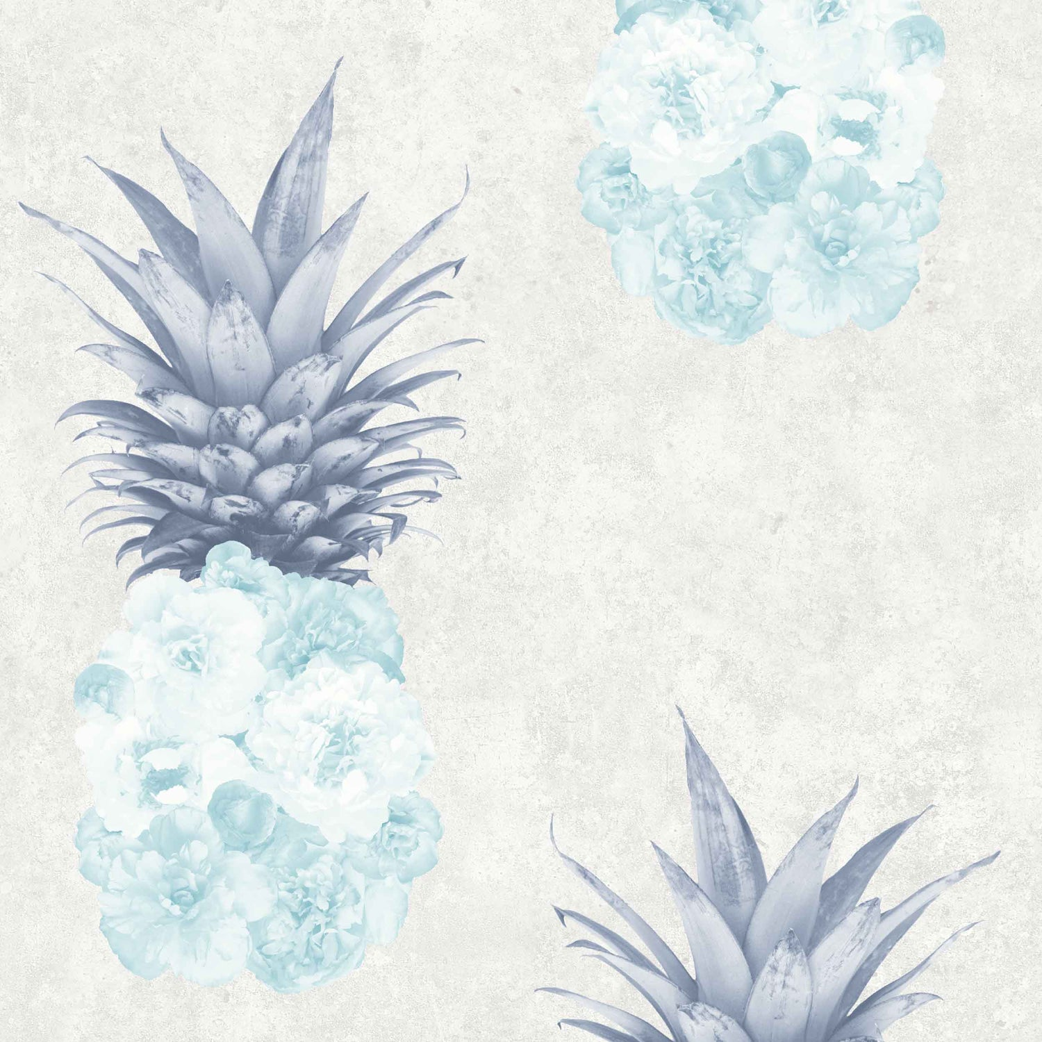 Floral Pineapple Feature Wallpaper in Duck Egg