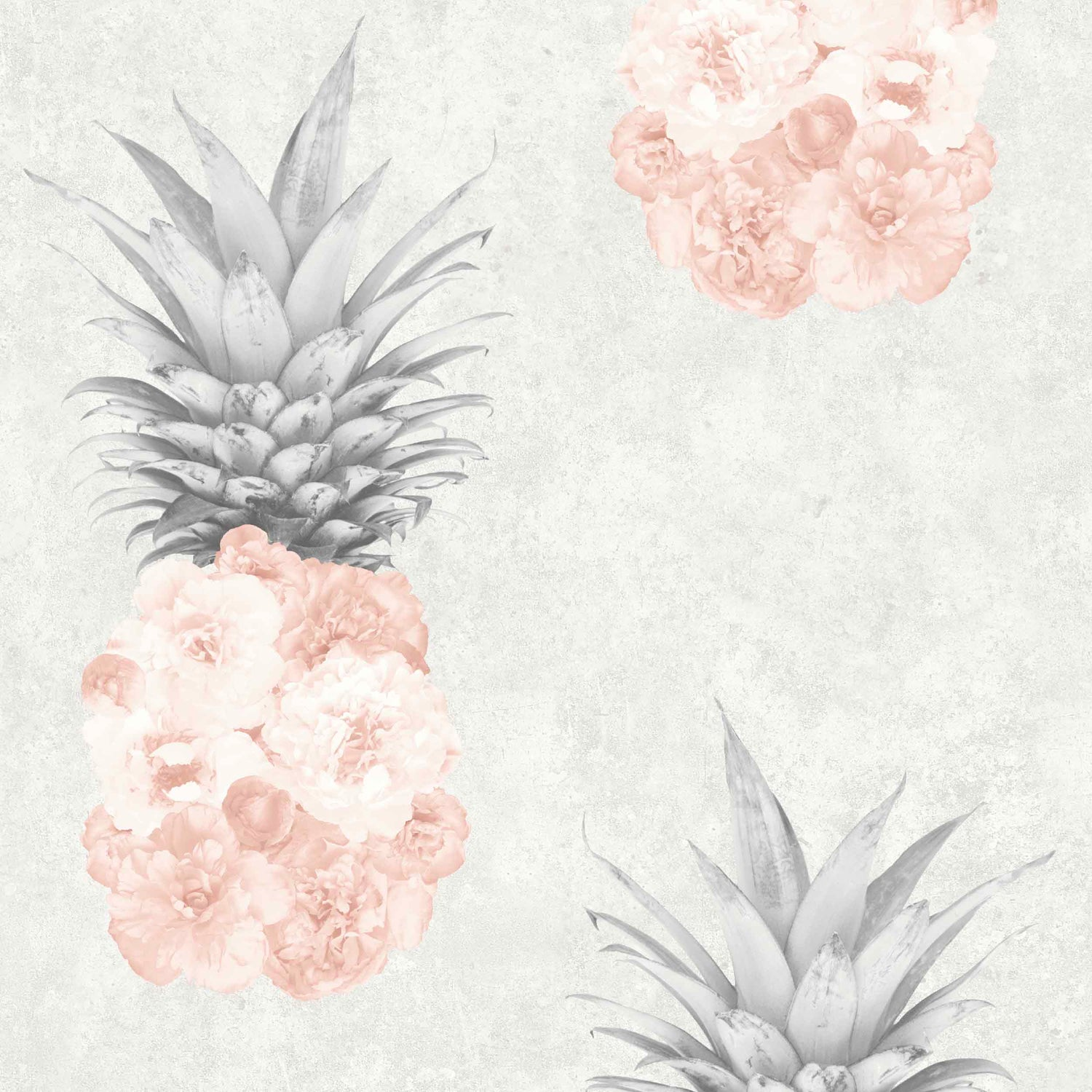 Floral Pineapple Feature Wallpaper in Blush Pink