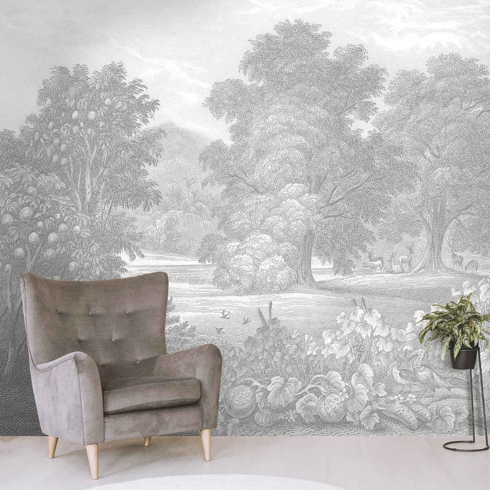 Land of Milk & Honey Grey Wallpaper Wall Mural