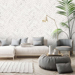 Painted White Chevron Wallpaper
