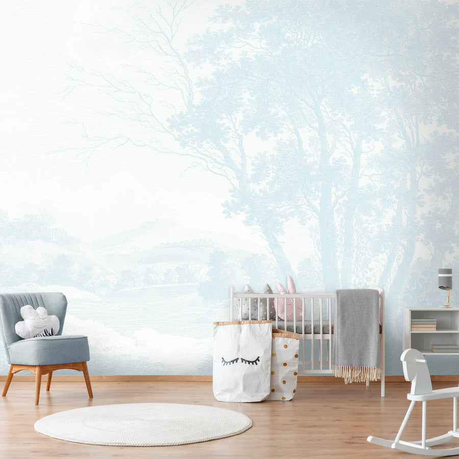 Peaceful Countryside Blue Wallpaper Mural by Woodchip and Mural