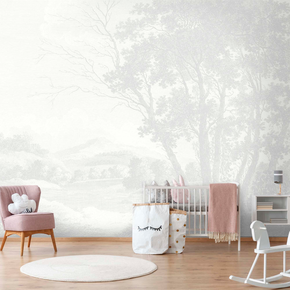 Peaceful Countryside Grey Wallpaper Mural