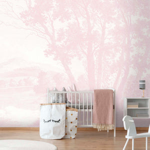Peaceful Countryside Pink Wallpaper Mural by Woodchip & Magnolia