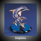 Dolphins Crystal Clear Ornament On Rotating Mirror Glass Base
