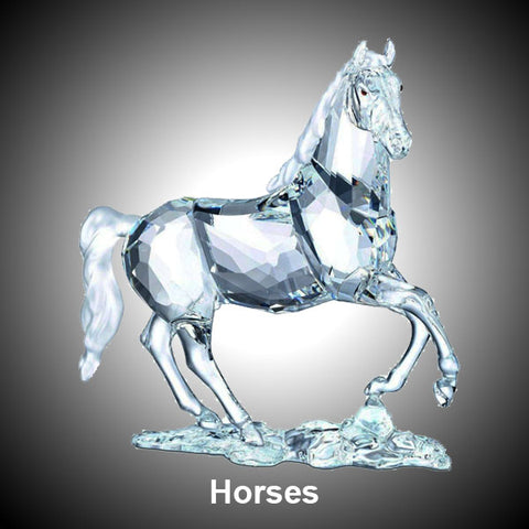 Horses Clear Crystal Ornament Figurine Statues Collection