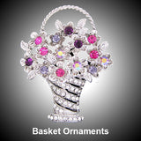 Crystal Clear Cut Glass Basket - Flowers & Fruits Ornament