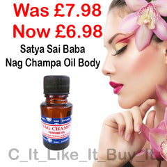 NAG CHAMPA PERFUME OIL - THIS WEEKS TOP SELLER - SALE PRICE - WAS £7.98 - NOW £5.98