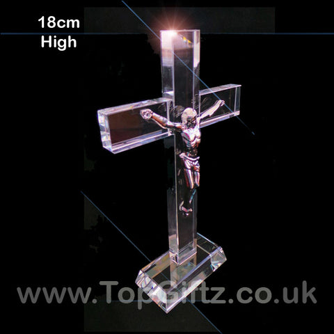 Clear cut glass large crucifix patriarchal catholic cross Christian on a rectangular base image 1