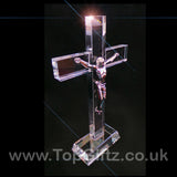 Clear cut glass large crucifix patriarchal catholic cross Christian on a rectangular base image 2