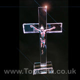Clear cut glass large crucifix patriarchal catholic cross Christian on a rectangular base image 3
