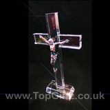 Clear cut glass large crucifix patriarchal catholic cross Christian on a rectangular base image 4