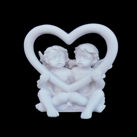 Lovers Fairies Sitting In Middle Of Love Heart - TopGiftz