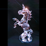 Unicorn Clear Crystal Glass Roaring Figurine Ornament 18cm High - TopGiftz