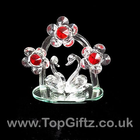 Crystal Clear Cut Glass 2 Swans Ornament With Daisy Flowers_1