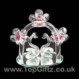 Crystal Clear Cut Glass 2 Swans Ornament With Daisy Flowers_4