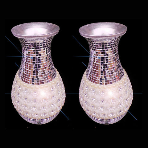 Pair Of Italian Style Luxury Silver Flower Vase - 28cm High - TopGiftz