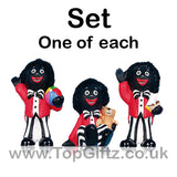 Golliwog Wog Golly Resin 3 Asst Figure Mini Set Teddy Bear beach ball Boat