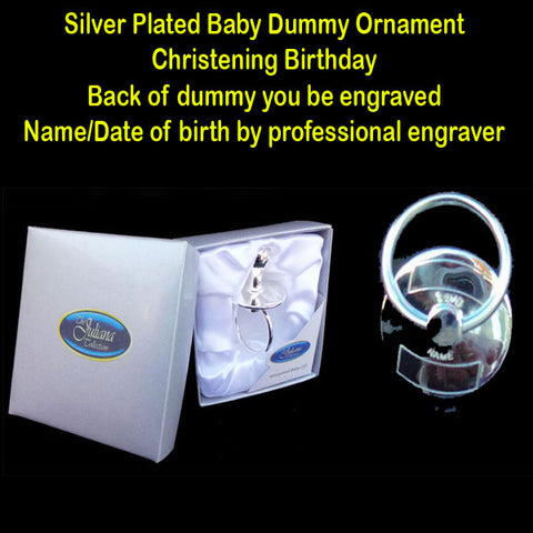 Silver Plated Baby Dummy Ornament Christening Birthday - TopGiftz