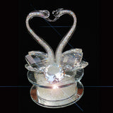 Pair of Swan Clear Crystal Heart Shape Ornament 13cm - TopGiftz