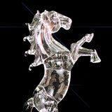 Crystal Clear Glass Roaring Horse Ornament Rectangular Base 20cm High image 2