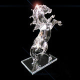 Crystal Clear Glass Roaring Horse Ornament Rectangular Base 20cm High - TopGiftz