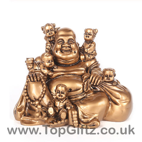 Laughing Buddha Feng Shui Sculpture Figurine Gold Red Rose