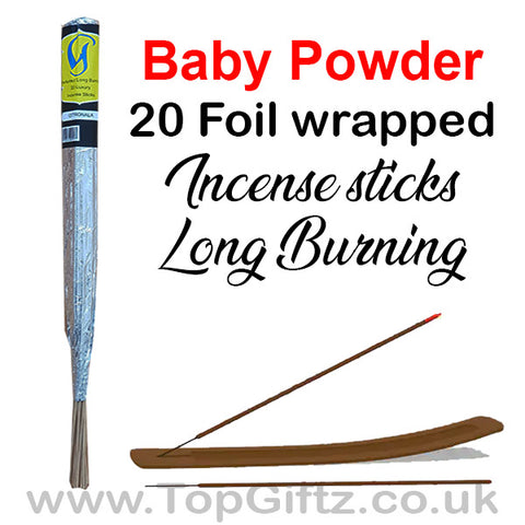 Baby Powder Incense Sticks Foil Wrapped - Govinda