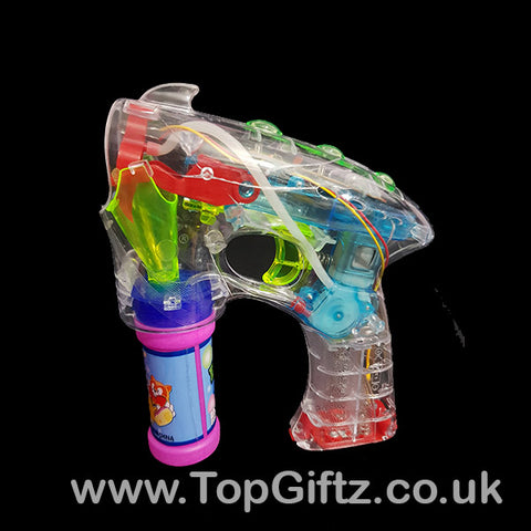 LED Light Up Battery Operated Bubble Gun Boys Girls Kids Toy_1