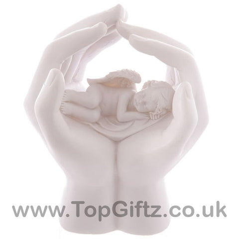 Sleeping Cherub In Hands With Led Changing Colour 17cm High - TopGiftz