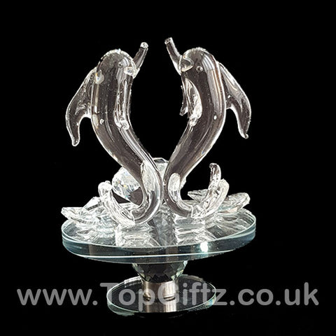 Crystal Clear Dolphins Ornament On Rotating Mirror Glass Base_1