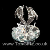 Crystal Clear Dolphins Ornament On Rotating Mirror Glass Base_7