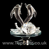 Crystal Clear Dolphins Ornament On Rotating Mirror Glass Base_8