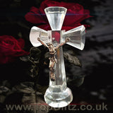 Clear Crystal Cut Glass Crucifix Cross Ornament - 14cm High_1