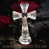Clear Crystal Cut Glass Crucifix Cross Ornament - 14cm High_4