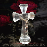Clear Crystal Cut Glass Crucifix Cross Ornament - 14cm High_7
