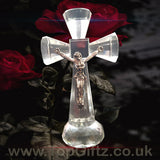 Clear Crystal Cut Glass Crucifix Cross Ornament - 14cm High_8