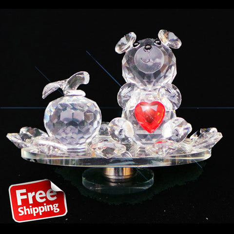 Crystal Clear Teddy Bear With Red Love Heart Rotating Base - TopGiftz