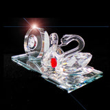 Swans Clear Crystal With Quartz Clock Ornament - TopGiftz