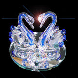 2 Crystal Swans Sky Blue Necks - 12cm High - topgiftz