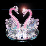 Swans Crystal Ornament Baby Pink Neck Heart Shape 12cm - TopGiftz