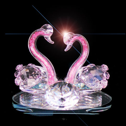 Swans baby pink necks crystal ornament sitting on mirror circular base | image 1
