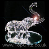 Elephant Clear Cut Glass Crystal Ornament Statues - 10cm H_2