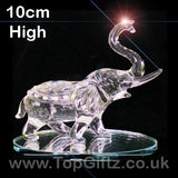 Elephant Clear Cut Glass Crystal Ornament Statues - 10cm H_1