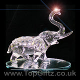 Elephant Clear Cut Glass Crystal Ornament Statues - 10cm H_3