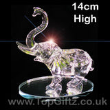 Elephant Crystal Clear Cut Glass Ornament Large - 14cm High - TopGiftz