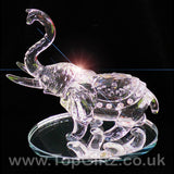 Elephant Clear Cut Glass Crystal Ornament Statues - 10cm H_4