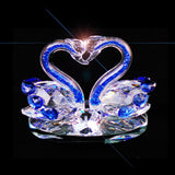 2 Swans Crystal Blue Neck - 12cm High - topgiftz