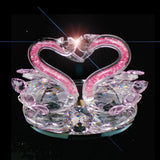 2 Swans Pink Necks Facing Each Other - 12cm High - topgiftz