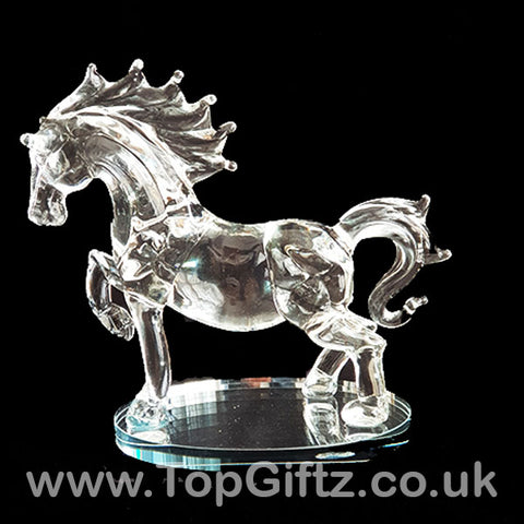 Crystal Clear Glass Horse Galloping Ornament Oval Mirror 18cm_1